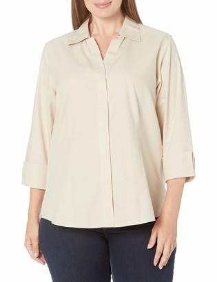 Foxcroft Women's Plus Size 3/4 Sleeve Taylor Essential Non Iron Shirt