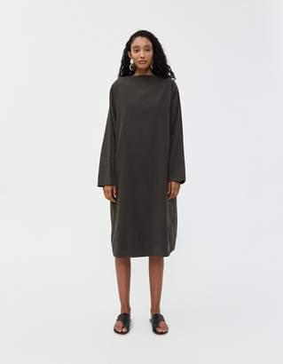Black Crane Folded Neck Dress in Dark Grey
