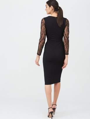 Very Lace Sleeve Scuba Bodycon Dress - Black
