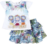 Petit Lem Tropical Top & Skirt Set, White, Size 3-9M