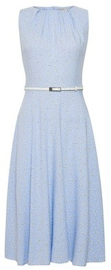 Dorothy Perkins Womens Billie & Blossom Blue Heart Ditsy Print Skater Dress, Blue