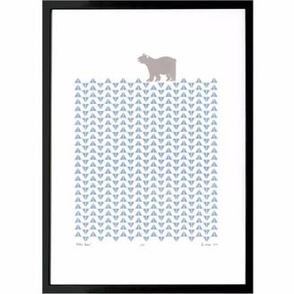 Lu West Polar Bear Screen Print in Ice Blue