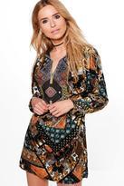 Boohoo Briella Aztec Skater Dress
