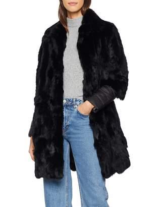 Cuplé Women's Abrigo Pelo punos combinados Coat