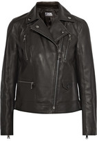 Karl Lagerfeld Ikonik Odina Leather Biker Jacket - Black