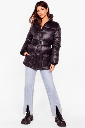 Nasty Gal Womens Singing in the Rain Padded Belted Longline Jacket - Black