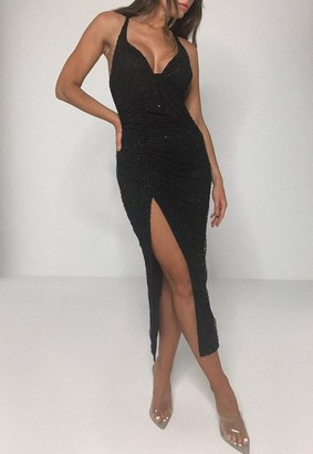 Missguided Black Sequin Ruched Strappy Cami Midi Dress