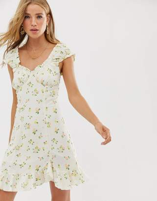 Free People Like A Lady printed mini dress-White