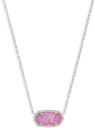 Kendra Scott Elisa Pendant Necklace Rhodium/Violet Drusy One Size