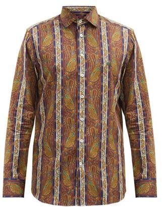 Etro Striped Paisley-print Cotton-poplin Shirt - Orange Multi