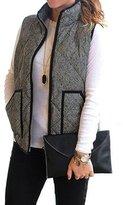 Susenstone Women Slim Fall Winter Quilted Herringbone Padded Vest With Zipper (M)