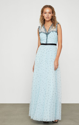 BCBGMAXAZRIA Ruched Tulle Dot Dress