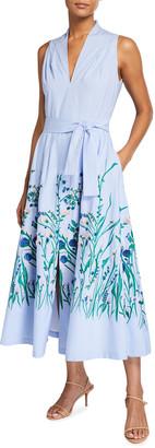 Lela Rose Floral Print Belted Poplin Dress