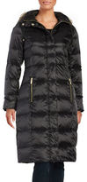 Eliza J Faux Fur Trimmed Hooded Down Puffer Coat