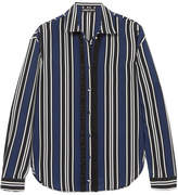 Markus Lupfer Clara Striped Silk Shirt - Navy