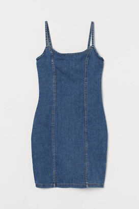 H&M Fitted Cotton Dress - Blue