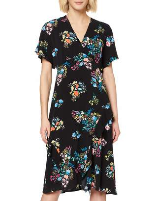 Yumi Black Spring Time Floral Print Kimono Dress