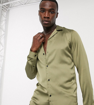 ASOS DESIGN Tall regular fit satin shirt with revere collar in khaki