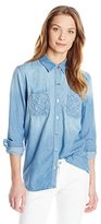 7 For All Mankind Women's 2 Pocket Slim Bf Shirt with Lattice Detail