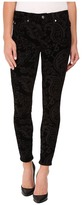 7 For All Mankind The Ankle Skinny w/ Contour Waist Band in Black Velveteen Paisley