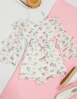 Topshop bardot playsuit in white floral
