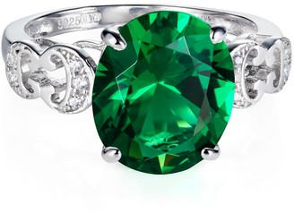 Hendrikka Waage Baron Sterling Silver Ring With Green Emerald Colour Zirconia Stone