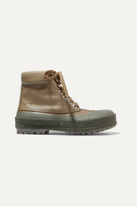 Jacquemus Les Meuniers Hautes Rubber-trimmed Leather Ankle Boots - Army green
