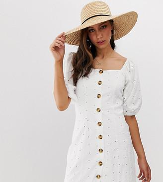 Asos DESIGN Tall button through broderie tea dress