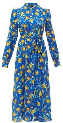 Saloni Vanessa Lemon-print Silk Midi Dress - Womens - Blue Multi