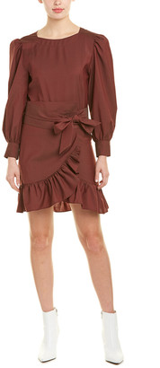 Isabel Marant Etoile Telicia Long-Sleeve Ruffle Linen A-Line Wrap Dress