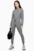 Topshop Grey Long Sleeve Sweatshirt Jumpsuit