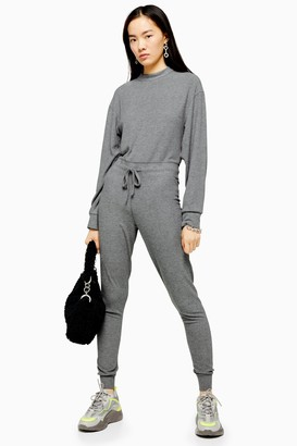 Topshop Womens Grey Long Sleeve Sweatshirt Jumpsuit - Grey Marl