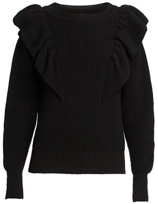 Isabel Marant Blakely Ruffled Wool-Blend Knit Sweater