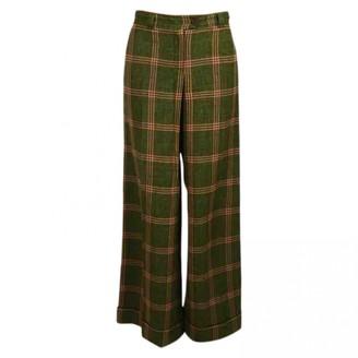 Philosophy di Alberta Ferretti Green Wool Trousers for Women