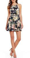 B. Darlin High Neck Floral-Print Skater Dress