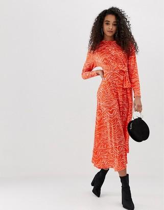 Asos Design DESIGN tie waist maxi dress in animal print-Multi