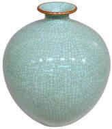 "One Kings Lane 13"" Crackle Pomegranate Vase - Celadon"