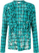Faith Connexion distressed ruffled shirt - men - Cotton/Metallized Polyester - M