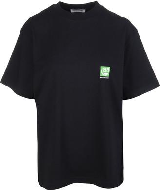 Balenciaga Black Woman Oversized T-shirt With Green Logo