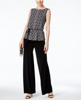 Connected Petite Printed Peplum Wide-Leg Jumpsuit