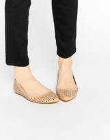 London Rebel Cut Out Point Flat Shoes