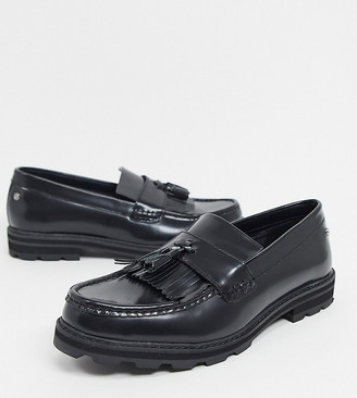 Ben Sherman wide fit chunky tassel loafers in black high shine leather