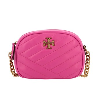 Tory Burch Shoulder Bag In Chevron Leather With Metallic Logo