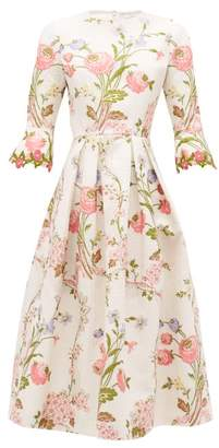 Andrew Gn Fluted-sleeve Floral-jacquard Cloque Midi Dress - Womens - White Multi