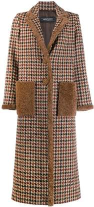 Simonetta Ravizza Oleandro double breasted coat with shearling piping and pockets