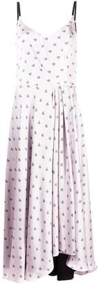 Parlor Bow Print Flared Midi Dress