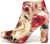 Liliana Rose Ceremony Beige Floral Velvet High Heel Booties