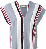 MAISON KITSUNÉ striped V-neck blouse - women - Cotton/Linen/Flax - M