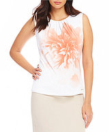 Calvin Klein Placement Floral Print Pleat Neck Matte Jersey Shell