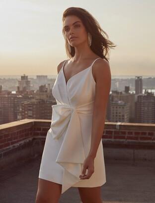 Forever New Lindsey Bow Mini Dress - Porcelain - 16